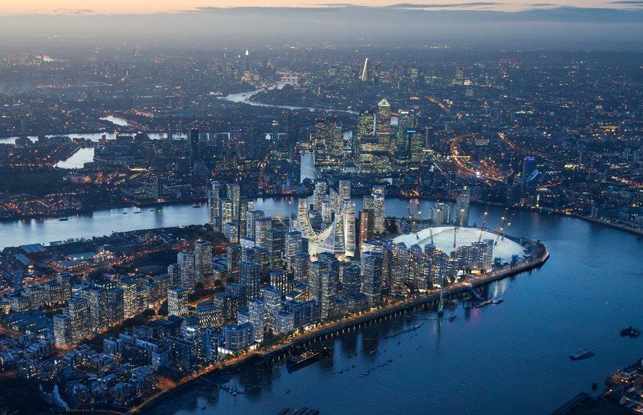 Aerial View of Greenwich Peninsula